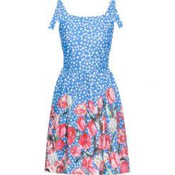 Sukienki: Sukienka w groszki i kwiatowy deseń bonprix niebiesko-różowo-biały