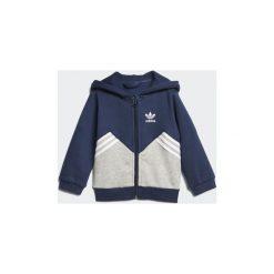 Bluzy dresowe Dziecko adidas  Zestaw polarowy z bluzą z kapturem. Niebieskie bluzy chłopięce rozpinane marki Adidas, z dresówki, z kapturem. Za 188,30 zł.