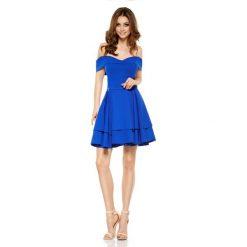 Zjawiskowa sukienka bardotka chabrowa LAURA. Niebieskie sukienki letnie marki Lemoniade, na imprezę, z falbankami. Za 199,90 zł.