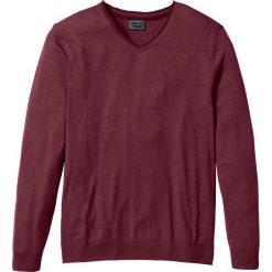 Swetry męskie: Sweter z kaszmirem i dekoltem w serek, Regular Fit bonprix czerwony klonowy