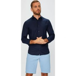 Premium by Jack&Jones - Koszula. Szare koszule męskie na spinki marki Premium by Jack&Jones, l, z bawełny, z włoskim kołnierzykiem, z długim rękawem. Za 219,90 zł.