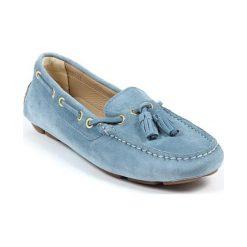 Mokasyny damskie: Skórzane mokasyny w kolorze błękitnym