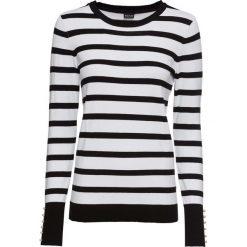 Sweter z dzianiny o gładkim splocie drobnych oczek, z perełkami bonprix czarno-biały w paski. Niebieskie swetry klasyczne damskie marki bonprix, z nadrukiem. Za 59,99 zł.
