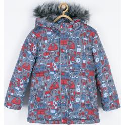 Kurtka. Niebieskie kurtki chłopięce przeciwdeszczowe marki Winter Time, z nadrukiem, z polaru. Za 209,90 zł.