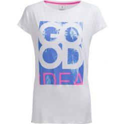 T-shirt damski TSD613 - biały - Outhorn. Białe t-shirty damskie Outhorn, z nadrukiem, z poliesteru. W wyprzedaży za 29,99 zł.