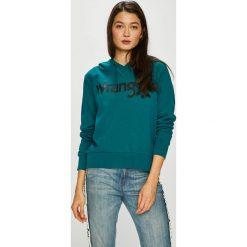 Wrangler - Bluza. Szare bluzy z kapturem damskie Wrangler, l, z nadrukiem, z bawełny. Za 219,90 zł.