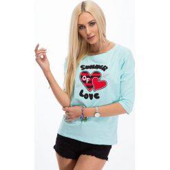 Bluzki damskie: Miętowa bluzka z aplikacją 3367
