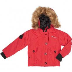 Kurtka zimowa w kolorze czerwonym. Czerwone kurtki dziewczęce zimowe marki Peak Mountain, z aplikacjami, z materiału. W wyprzedaży za 172,95 zł.