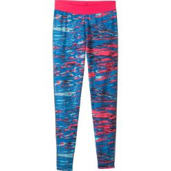 Legginsy sportowe z kieszonką z zamkiem bonprix różowo-morski. Zielone legginsy dziewczęce marki bonprix, w kropki, z kopertowym dekoltem, kopertowe. Za 44,99 zł.