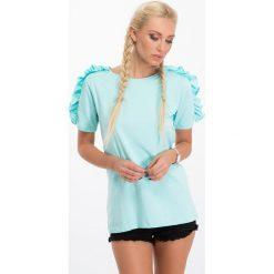 Bluzki damskie: Miętowa bluzka z falbankami na ramionach 3514