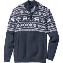 Sweter ze stójką Regular Fit bonprix ciemnoniebieski. Niebieskie golfy męskie bonprix, l. Za 99,99 zł.
