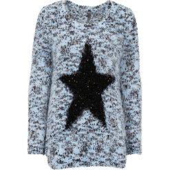 Swetry klasyczne damskie: Sweter z dzianiny z długim włosem, z cekinami bonprix jasnoniebiesko-czarny melanż