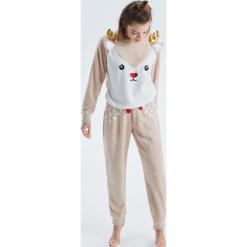 Dwuczęściowa piżama renifer - Beżowy. Brązowe piżamy damskie marki Reserved, m. Za 89,99 zł.