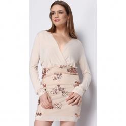 Beżowa Sukienka Partite. Brązowe sukienki balowe marki Born2be, s, z dzianiny, z długim rękawem, mini. Za 79,99 zł.