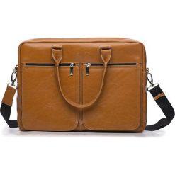 Męska torba ze skóry na ramię, laptopa ROYAL camel. Brązowe torby na ramię męskie marki Solier, w paski, z bawełny. Za 529,00 zł.