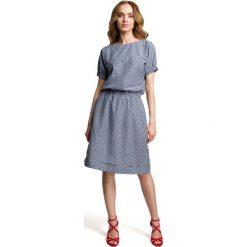 Granatowa Casualowa Sukienka w Drobną Krateczkę. Niebieskie sukienki mini Molly.pl, l, ze skóry, wakacyjne, z krótkim rękawem, oversize. Za 135,90 zł.