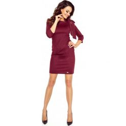 Sukienki hiszpanki: Bordowa Mini Sukienka z Modnymi Detalami