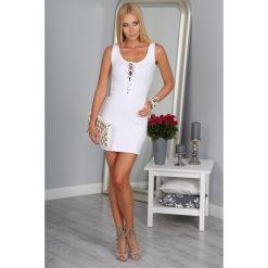 Sukienka Biała 3060. Czarne sukienki marki Fasardi, m, z dresówki. Za 49,00 zł.