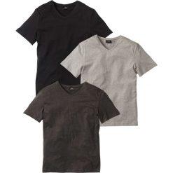 T-shirt z dekoltem w serek (3 szt.) Regular Fit bonprix antracytowy melanż + jasnoszary melanż + czarny. Czarne t-shirty męskie marki B'TWIN, na jesień, m, z elastanu. Za 74,97 zł.