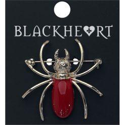 Broszki damskie: Blackheart Spider Broszka czerwony/złoty