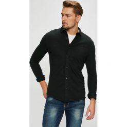 Premium by Jack&Jones - Koszula. Czarne koszule męskie na spinki marki Premium by Jack&Jones, l, z bawełny, z włoskim kołnierzykiem, z długim rękawem. Za 169,90 zł.