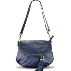 Torebki klasyczne damskie: Skórzana torebka w kolorze niebieskim – 29 x 24 x 8 cm
