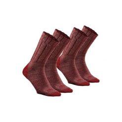 Skarpety SH100 WARM MID. Czerwone skarpetki męskie QUECHUA, z wełny. Za 29,99 zł.