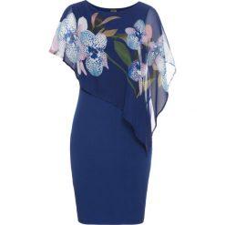 Sukienka z szyfonową narzutką bonprix kobaltowy - orchidee. Niebieskie bolerka i narzutki damskie marki bonprix, na co dzień, z szyfonu. Za 119,99 zł.