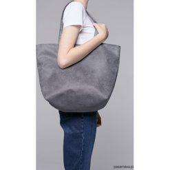 Zamszowa torba - shopper grey. Szare shopper bag damskie marki Pakamera, z bawełny, na ramię, zamszowe. Za 139,00 zł.