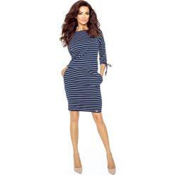Gracia wygodna sukienka dzienna PASKI GRANAT. Niebieskie sukienki na komunię marki Bergamo, w paski, sportowe, sportowe. Za 98,00 zł.