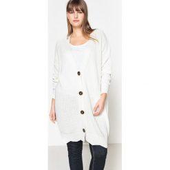Swetry damskie: Długi kardigan w serek, 100% bawełny