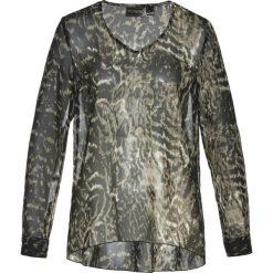 Bluzki damskie: Bluzka z dekoltem w serek bonprix biel wełny - ciemnooliwkowy z nadrukiem
