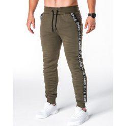 Spodnie męskie: SPODNIE MĘSKIE DRESOWE P653 – KHAKI