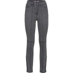 Dżinsy SKINNY ze sznurowaniem bonprix szary denim. Szare jeansy damskie skinny bonprix, z denimu. Za 159,99 zł.