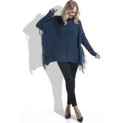 Granatowy Sweter Ponczo z Frędzlami. Niebieskie poncza marki Molly.pl, s, z jeansu. Za 168,90 zł.
