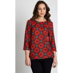 Bluzka we wzory z rękawem 3/4 BIALCON. Czerwone bluzki nietoperze marki BIALCON, na co dzień, oversize. Za 185,00 zł.