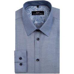 Koszula MICHELE KDSE000045. Niebieskie koszule męskie na spinki Giacomo Conti, m, w geometryczne wzory, z bawełny, z klasycznym kołnierzykiem. Za 149,00 zł.