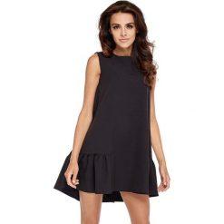 Sukienki: Czarna Wyjściowa Trapezowa Sukienka z Falbanką
