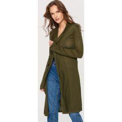 Swetry damskie: Długi kardigan – Khaki