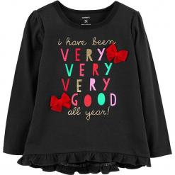 Koszulka w kolorze czarnym. Czarne bluzki dziewczęce bawełniane marki Carter's, z nadrukiem, z kokardą, z długim rękawem. W wyprzedaży za 39,95 zł.