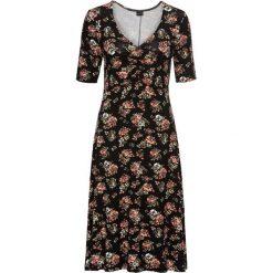 Sukienka bonprix czarny z nadrukiem. Czarne sukienki hiszpanki bonprix, z nadrukiem, z dżerseju, z dekoltem w serek, z krótkim rękawem, mini, rozkloszowane. Za 89,99 zł.