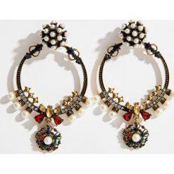 Kolczyki damskie: Okrągłe kolczyki w kolorze starego złota - Wielobarwn