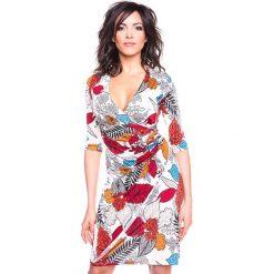 """Sukienki hiszpanki: Sukienka """"Automne"""" w kolorze beżowym ze wzorem"""