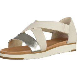 Sandały damskie: Skórzane sandały w kolorze srebrno-kremowym