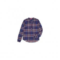 Bluzka tkanina z guzikami, ze stójką W KRATKĘ. Szare bluzki z odkrytymi ramionami marki TXM. Za 29,99 zł.
