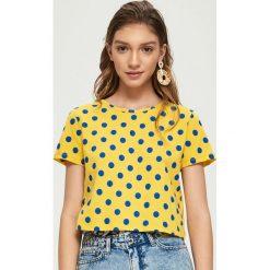 Bluzki, topy, tuniki: T-shirt w groszki – Żółty