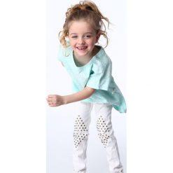 Odzież dziecięca: Bluzka dziewczęca z wiązaniem biało-miętowa NDZ8200
