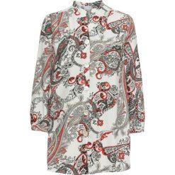Długa  bluzka bonprix biało-czarno-szary z nadrukiem. Białe bluzki longsleeves marki bonprix, z nadrukiem, z dekoltem w serek. Za 109,99 zł.
