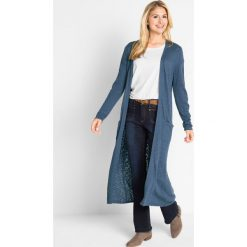 Długi płaszcz dzianinowy, długi rękaw bonprix niebieski kryształowy. Niebieskie płaszcze damskie bonprix, z dzianiny. Za 119,99 zł.