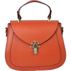 Torebki klasyczne damskie: Skórzana torebka w kolorze pomarańczowym – 22 x 20 x 11 cm